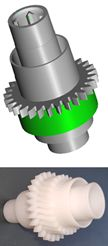 The worm wheel (bottom) and its 3D CAD model (top)