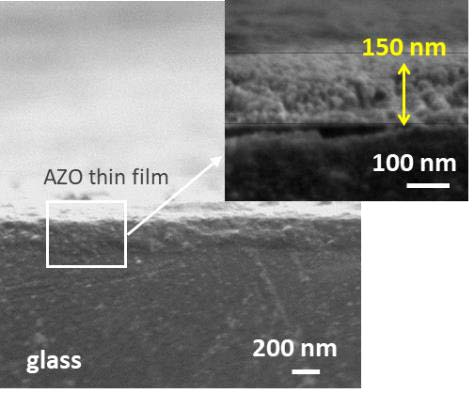 150 nm thick Al-modified ZnO (AZO) layer screen printed on glass